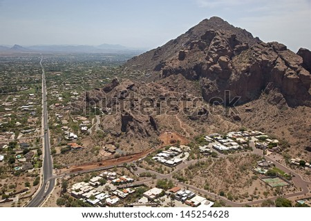 Camelback Mountain and Echo Canyon trail during park upgrades - stock photo