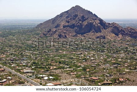 Camelback Mountain on a hot Summer hazy day