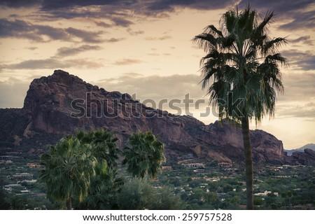 Camelback Mountain, valley canyon resort destination area, Phoenix,AZ,USA - stock photo