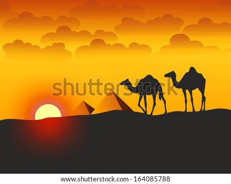 Camels and Pyramids - Stock Illustration - stock photo