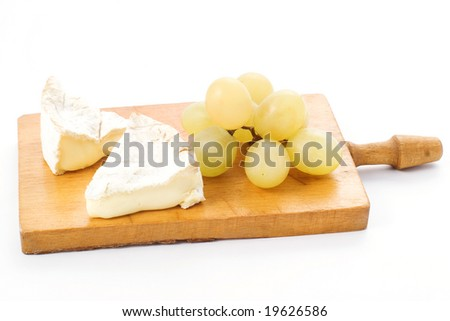 Camembert and grapes, clipping path