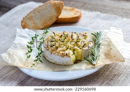 Camembert cheese fondue - stock photo