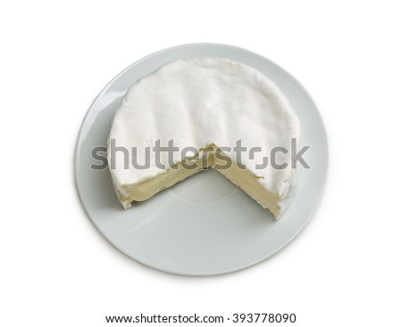 Camembert cheese on a plate. Isolate on white. - stock photo