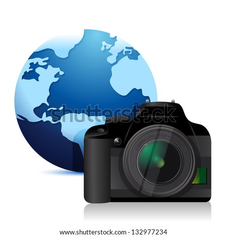 camera and a international globe illustration over a white background - stock photo