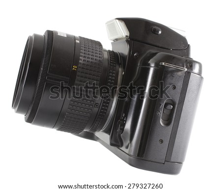 Camera and lens that used film isolated on white - stock photo