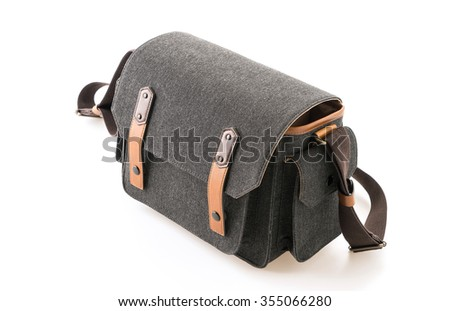 camera bag on white background