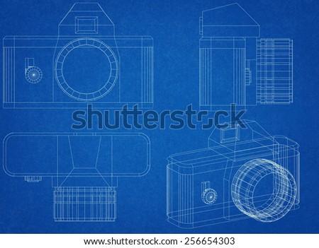 Camera blueprint stock illustration 256654303 shutterstock camera blueprint malvernweather Choice Image