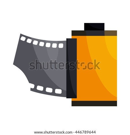 Camera film roll icon in cartoon style on a white background - stock photo