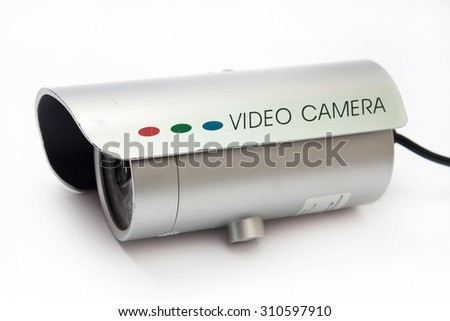 Camera for video surveillance on the white background. - stock photo