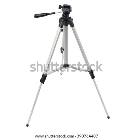 Camera gray tripod over isolated white background