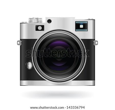 Camera icon isolated on white background. Vintage style. JPEG Version - stock photo