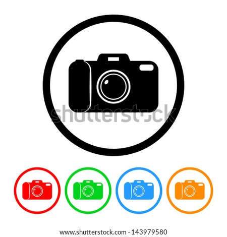 Camera Icon with Four Color Variations - Raster Version.  Vector Also Available. - stock photo