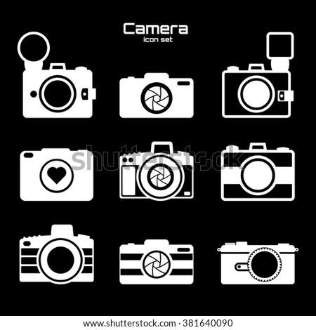 Camera icons set. Icons for photographers on black background. - stock photo