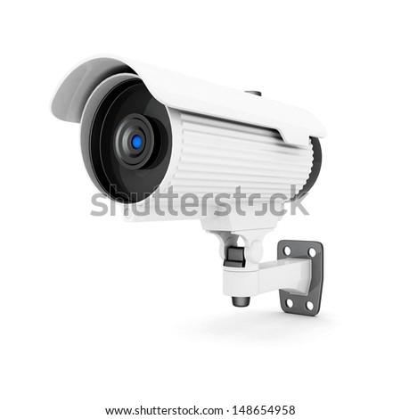 Camera image on white background - stock photo