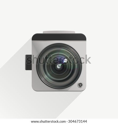 Camera in a flat design with realistic lens. Raster version - stock photo