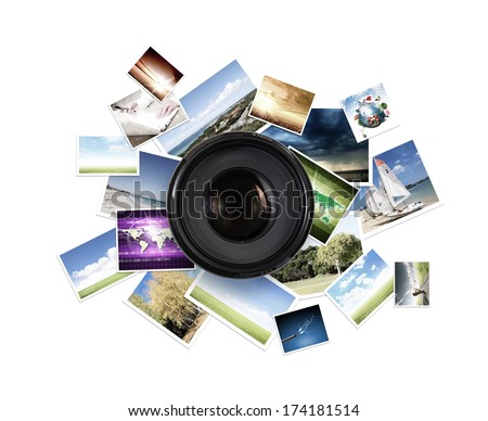 Camera lens against light background. Photography business - stock photo