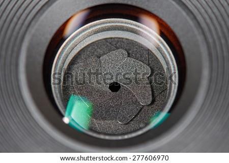 Camera lens aperture blades - stock photo