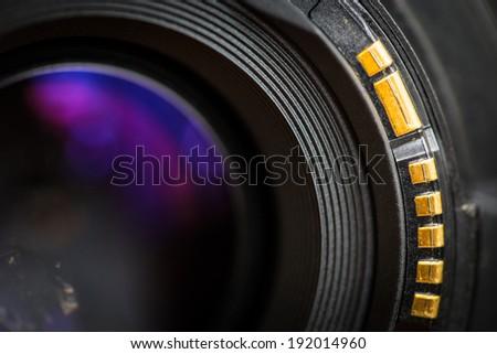 Camera lens back sight close up image. - stock photo