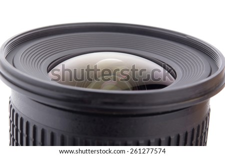 camera lens close up isolated on white - stock photo