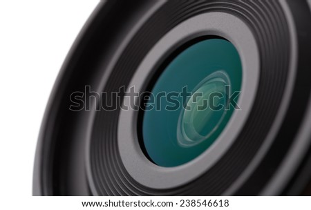 Camera lens close-up on a white background - stock photo
