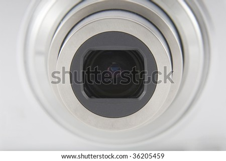 Camera lens front shot macro shuting - stock photo