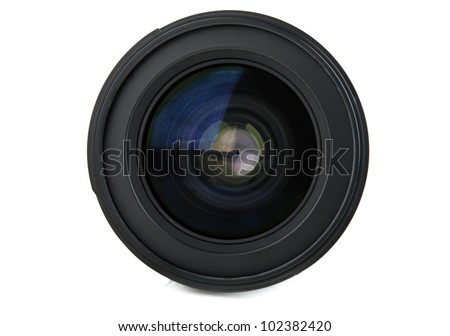 camera lens isolated on a white background - stock photo