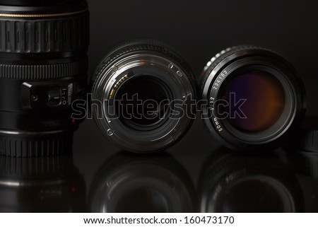 Camera Lens  isolated on black background 01 - stock photo