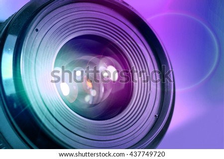 camera lens with color light lens flare effect