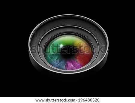 Camera lens with multicolored eye on black - stock photo