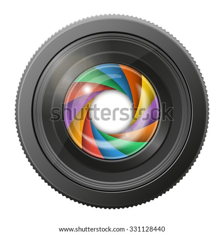 Camera lens with multicolored shutter open, isolated on white background. Rasterized version. - stock photo