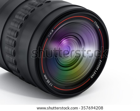 Camera lens with reflection isolated on white background.