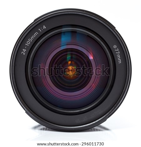 Camera lens with refllection. Close up photo - stock photo
