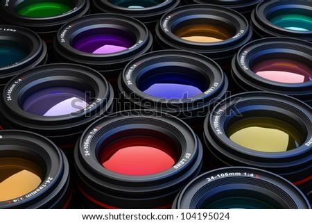 Camera Lenses photography theme background - stock photo