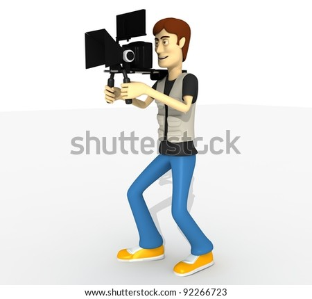 camera man with camera whole body