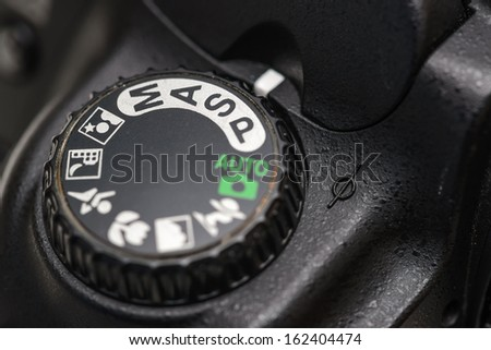 Camera mode dial Shutter priority mode - stock photo