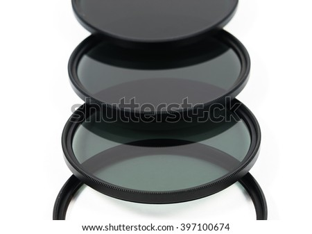 camera nd (Neutral-density ) filter on white background.