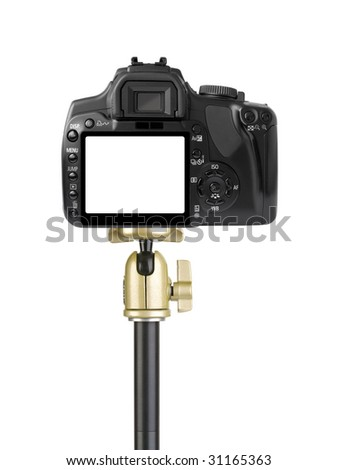 Camera on tripod isolated on white background - stock photo