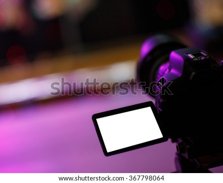 Camera Operator, Camera, Movie Camera near the podium - stock photo