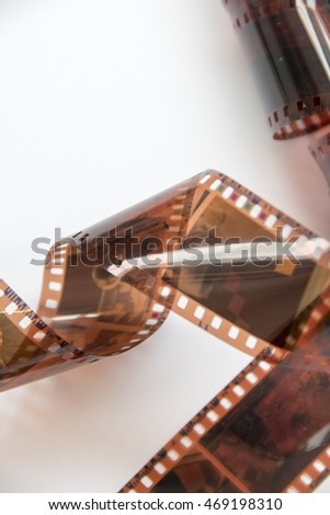 Camera photo film strip isolated on white background