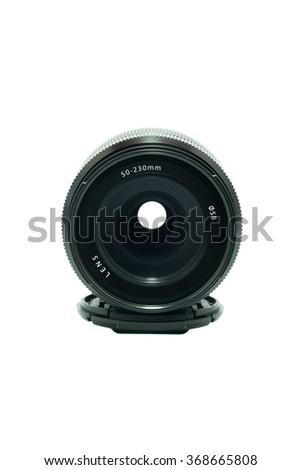 Camera photo lens front sight isolated on white background - stock photo