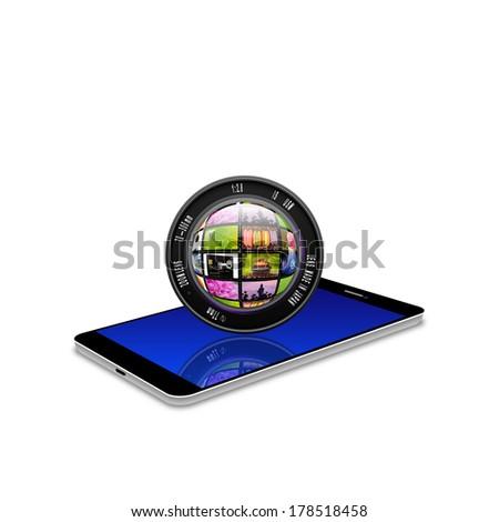 Camera photo lens on smartphone,cell phone illustration - stock photo
