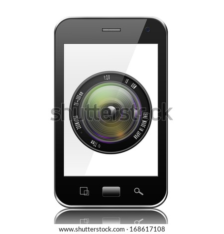 Camera photo lens on smartphone,smartphone with lens illustration - stock photo