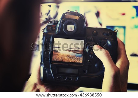 Camera PhotoGraphy Photographer Working Checking Concept - stock photo
