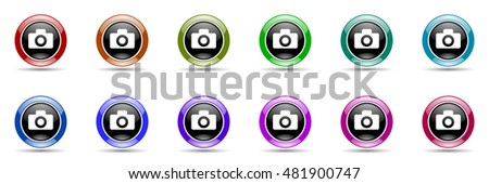 camera round glossy colorful web icon set