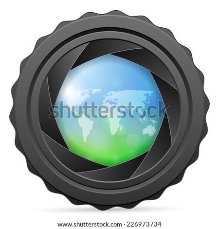 camera shutter with world map illustration. - stock photo