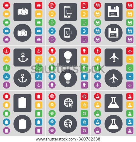 Camera, SMS, Floppy, Anchor, Light bulb, Airplane, Battery, Web cursor, Flask icon symbol. A large set of flat, colored buttons for your design. illustration - stock photo