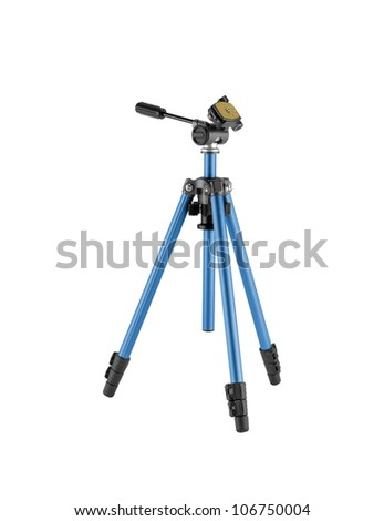 Camera stand tripod isolated on white background - stock photo