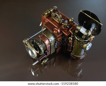 Camera steampunk - stock photo