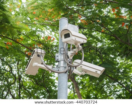 camera surveillance in the park, idea for safety - stock photo