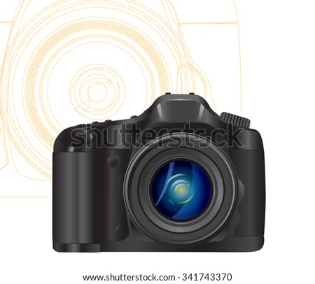 camera symbol with abstract lines on background. JPG version